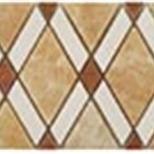Diamond Series Listello Honey Onyx Big Diamond-Thassos WhiteStripes-RedSmall Diamond
