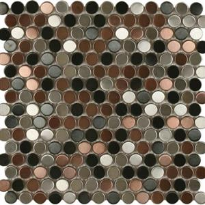 MetalTile PerthPennyRounds A9509 BlackStainlessCopperAntiqueStainless
