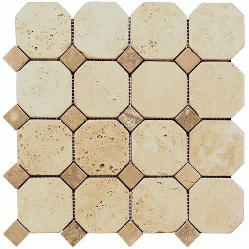Daintree Exotic Mosaics - Octagon Trav Chiaro With Trav Noce Dot