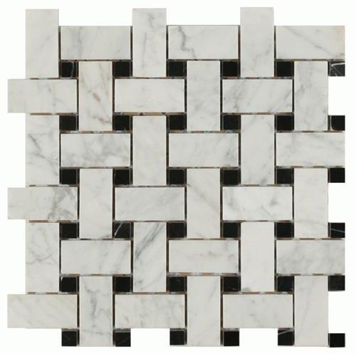 Daintree Exotic Mosaics - Basketweave Bianco Carrara With Nero Dot