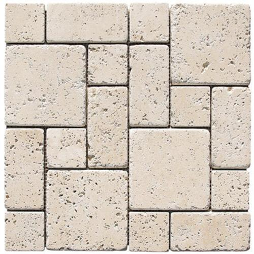 Natural Stone Roman Pattern Mosaics Light Tumbled Travertine