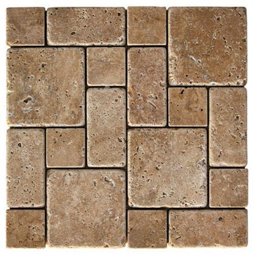 Natural Stone Roman Pattern Mosaics Noche Tumbled Travertine