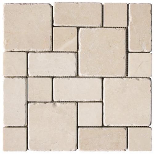 Natural Stone Roman Pattern Mosaics Botticino Tumbled Marble