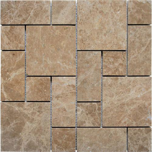 Natural Stone Roman Pattern Mosaics Light Emperador Polished Marble