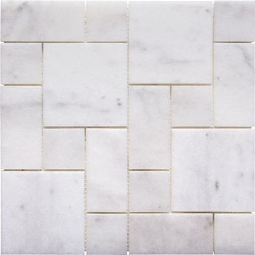 Natural Stone Roman Pattern Mosaics Bianco Imperial Honed Marble