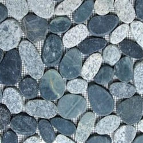 Sliced Pebble Mosaic Grey  Black