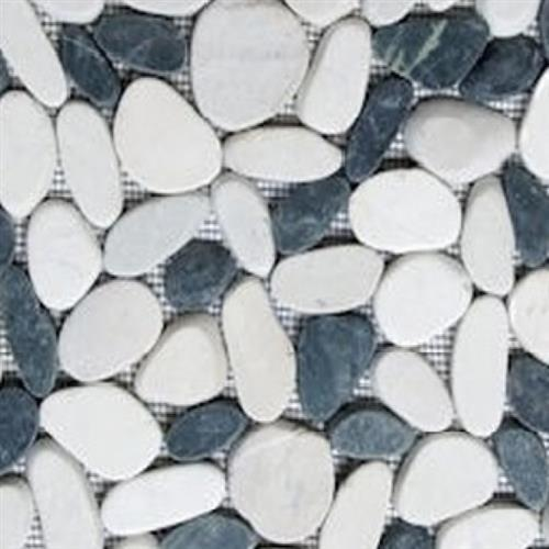 Sliced Pebble Mosaic Black  White