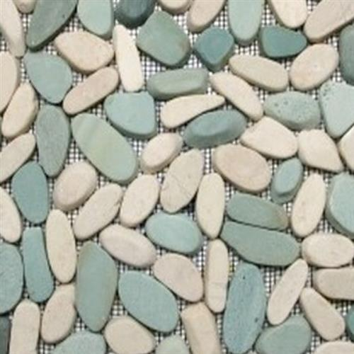 Sliced Pebble Mosaic Green  White