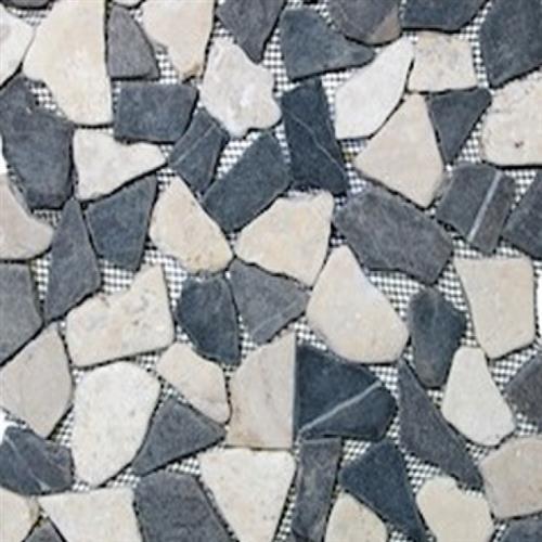 Flat Pebbles Mosaic Grey  White