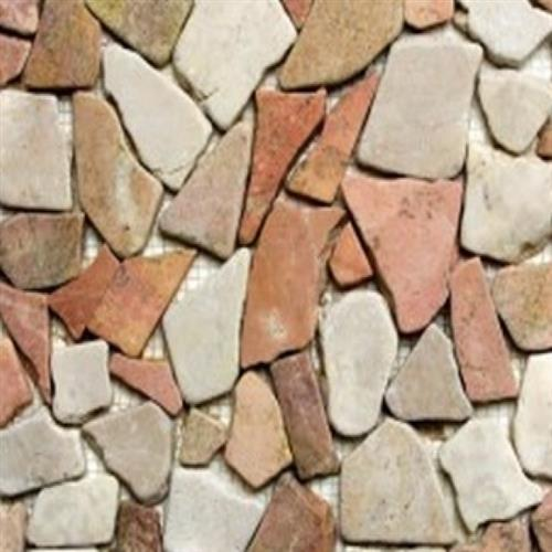 Flat Pebbles Mosaic Red  White