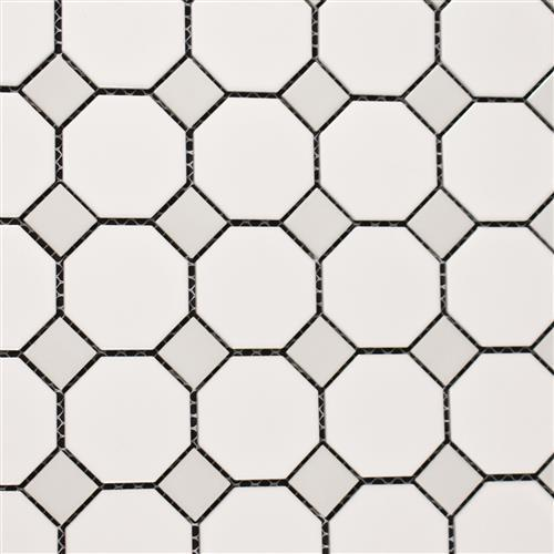 Vintage Series 2 White Matte Octagon With White Dot