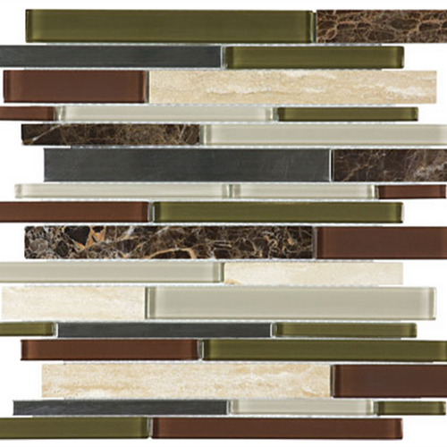 Bliss  Deep Grotto Linear Glass Stone Stainless Blend