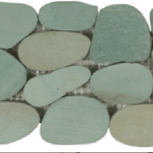 Botany Bay Pebbles - Sliced Borders Sea Green