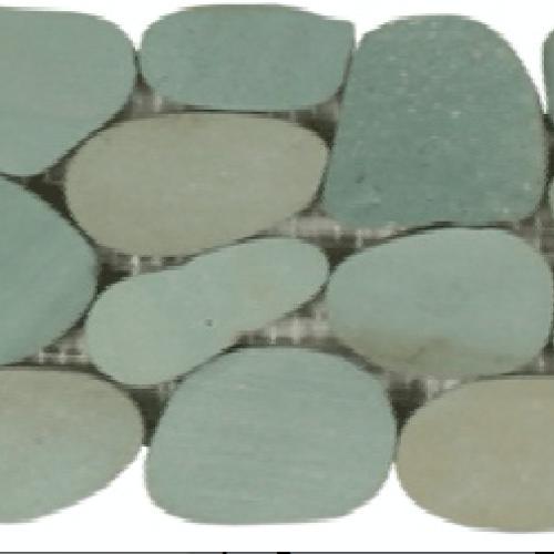 Botany Bay Pebbles - Sliced Borders Sea Green