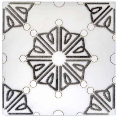 Dahlia Pattern Black 6X6 - Carrara