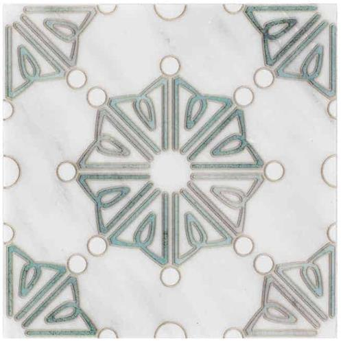 Dahlia Pattern Emerald 6X6 - Carrara