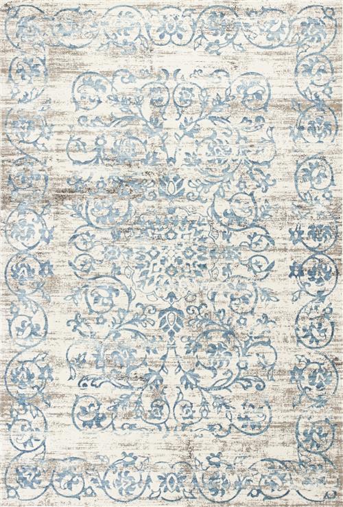 Crete-6503-Ivory/Blue Courtyard