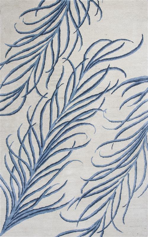 Bob Mackie Home-1010-Ivory/Blue Plume