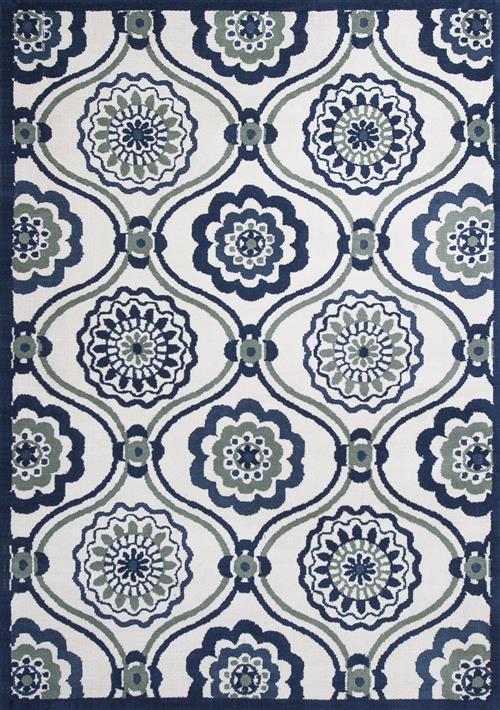 Allure-4082-Ivory/Navy Mosaic
