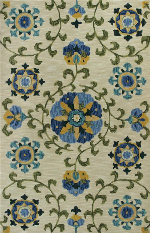 Anise-2410-Ivory/Blue Allover Suzani