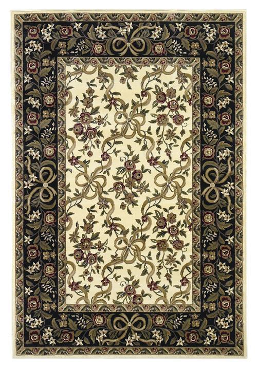 Cambridge-7310-Ivory/Black Floral Ribbons
