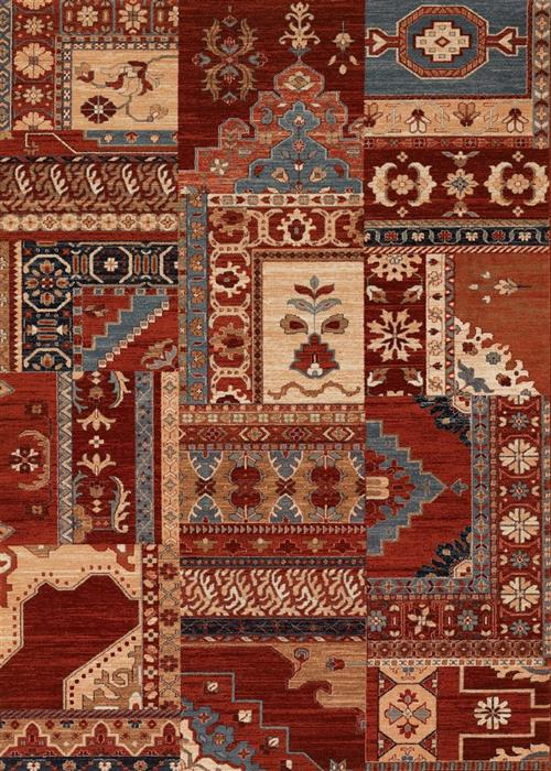 Timeless Treasures - Kerman Mosaic - Burgundy/Rust