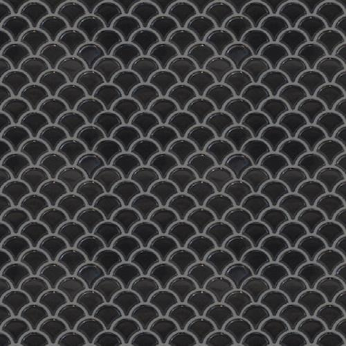 Studio   Nouveau in Charcoal Glossy   Scallop Mosaic - Tile by Surface Art