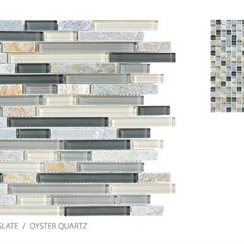 Surface Art Clear Glass And Slate Oyster Quartz Glass Tile Tacoma