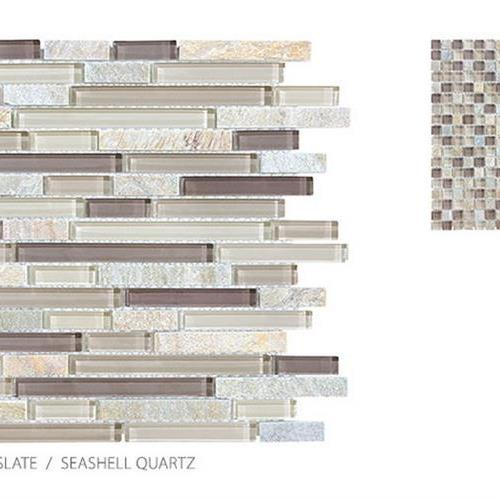 Clear Glass And Slate Seashell Quartz