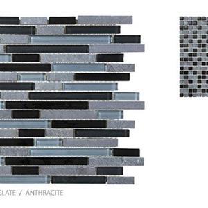 GlassTile ClearGlassandSlate TSADGCGANBLEND Anthracite-Mosaic