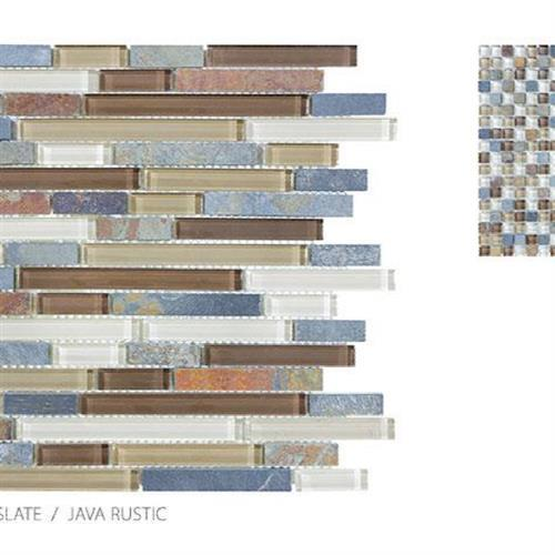 Clear Glass And Slate Java Rustic - Mosaic