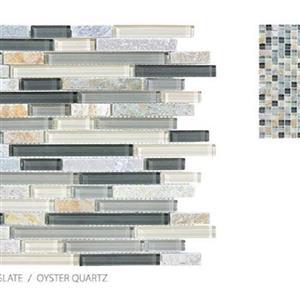GlassTile ClearGlassandSlate TSADGCGOQSTRIP OysterQuartz-Strip