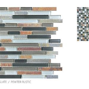 GlassTile ClearGlassandSlate TSADGCGPRBLEND PewterRustic-Mosaic