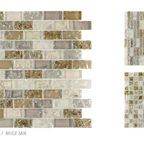 Crackle Glass Beige Mix - 1X2 Mosaic