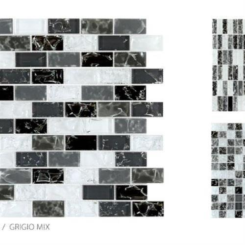 Crackle Glass Grigio Mix - 1X1 Mosaic