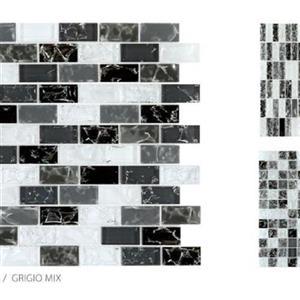 GlassTile CrackleGlass TSMDGCLGGRI1X2B GrigioMix-1x2Mosaic