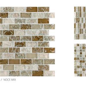 GlassTile CrackleGlass TSMDGCLGNOC1X2B NoceMix-1x2Mosaic