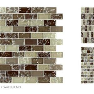 GlassTile CrackleGlass TSMDGCLGWAL1X2B WalnutMix-1x2Mosaic