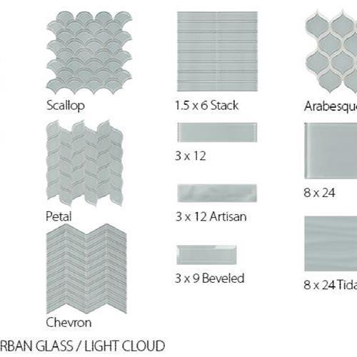 Translucent Urban Glass Light Cloud - 8X24 Tidal