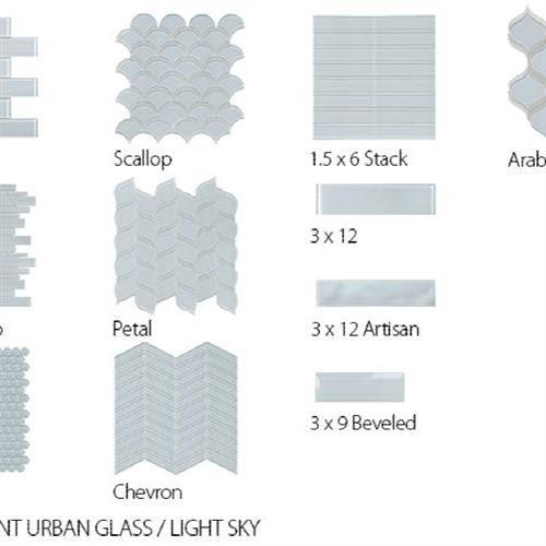 Translucent Urban Glass Light Sky - Chevron