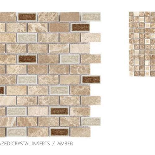 Stone With Glazed Crystal Inserts Amber - Brick Mosaic
