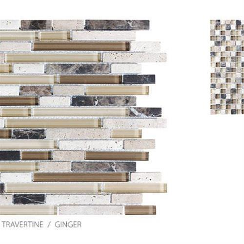 Stone Glass Travertine Ginger - Mosaic