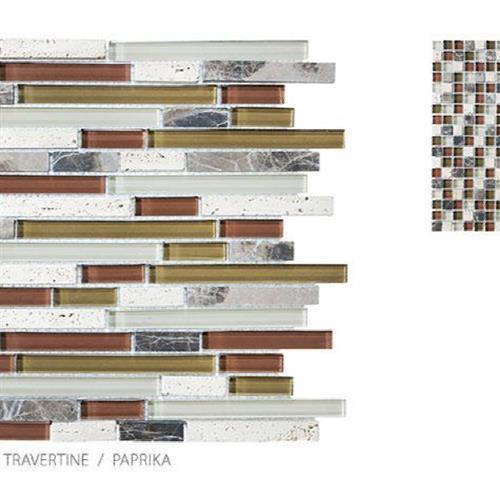 Stone Glass Travertine Paprika - Mosaic