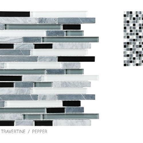 Stone Glass Travertine Pepper - Random Strip