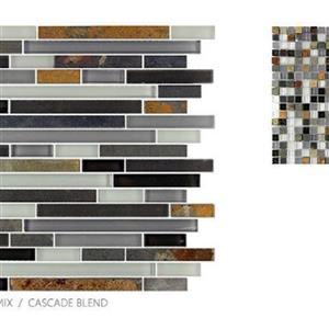 GlassTile GlassSlate TSMDGGS0GS03RM4 CascadeBlend-Mosaic
