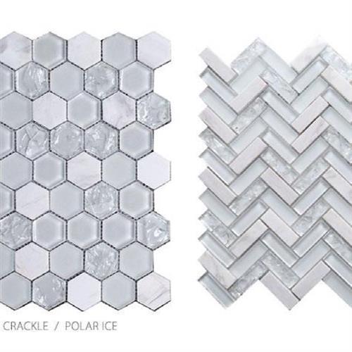 Stone Glass  Crackle Polar Ice - Herringbone