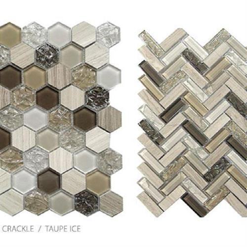 Stone Glass  Crackle Taupe Ice - Hexagon