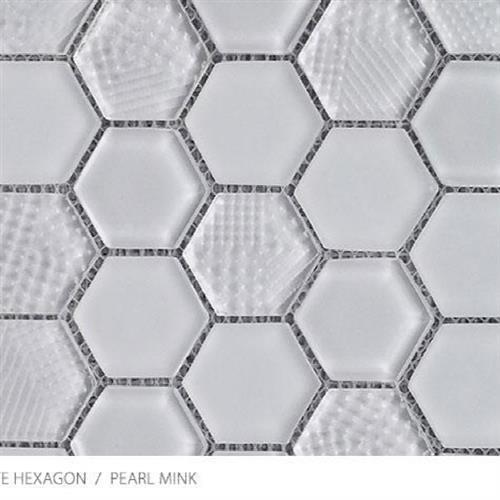 Textured Gloss  Matte Hexagon Pearl White / Mink