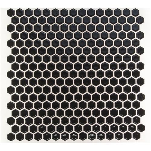 Simple Hexagon Solid Polished Black