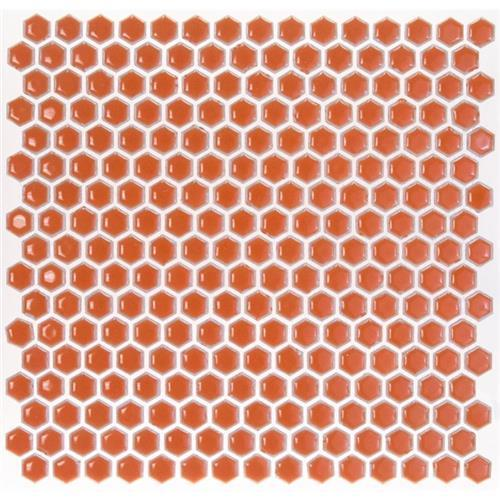 Simple Rimmed Hexagon Tangerine